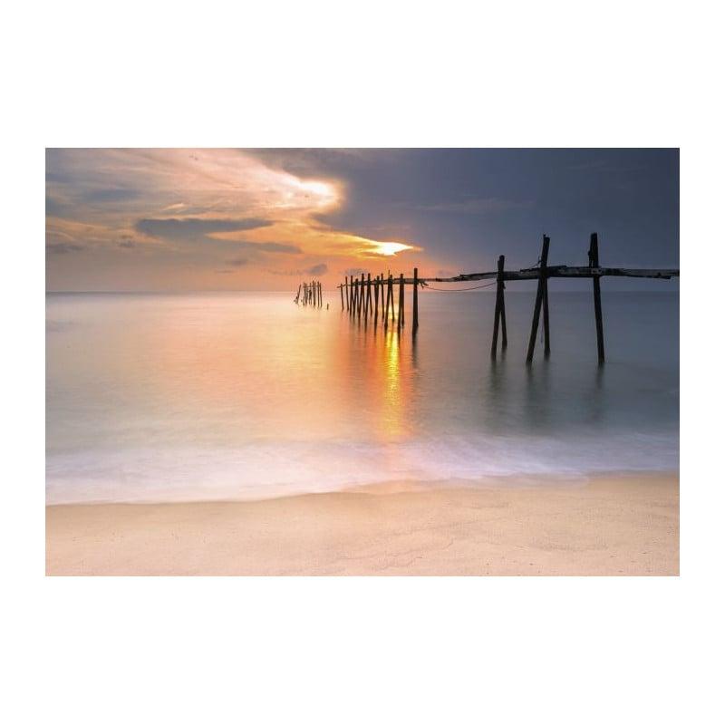 Papier peint trompe l 39 oeil panoramique coucher du soleil mer for Poster xxl chambre