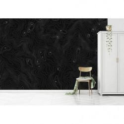 Papier peint noir avec reliefs dessinés