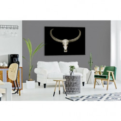 Vanity painting with a buffalo skull design on a black background