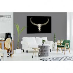 Cuadro de vanidad con diseño de calavera de búfalo sobre fondo negro