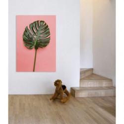 Cuadro en lienzo de estilo tropical con hoja gigante