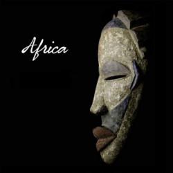 Tableau masque africain sur fond noir