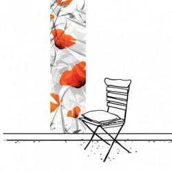 Tenture murale extérieure design coquelicot rouge et blanc