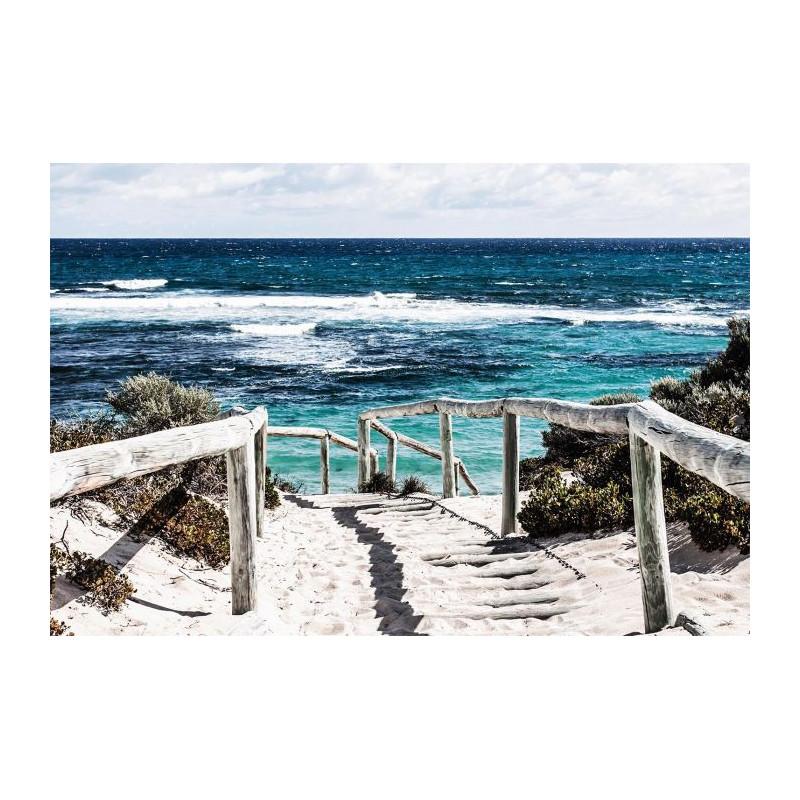 Tableau coucher de soleil panoramique grand format plage - Tableau de salon ...