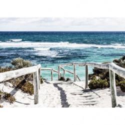 Tableau trompe l'oeil plage de sable blanc