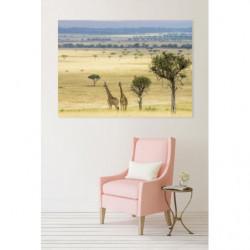 Landscape painting savannah with giraffes