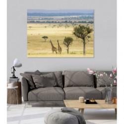 Pintura de paisaje de la sabana con jirafas