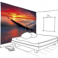 Panoramic sunset poster on the turquoise sea
