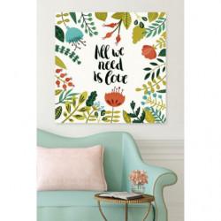 Cuadro en lienzo de citas y flores para interiores