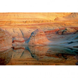 Orange landscape painting with rock