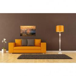 Pintura de paisaje naranja con roca