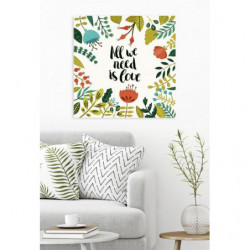 Quote and flower canvas print for indoor use
