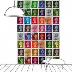 Tenture suspendue timbres reine d'Angleterre colorés