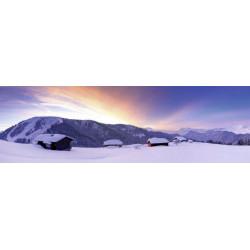 Tableau coucher de soleil sur un chalet à la neige