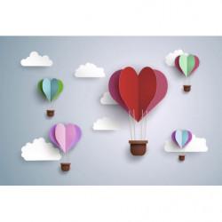 Globos aerostáticos con efecto romántico 3D en el cielo