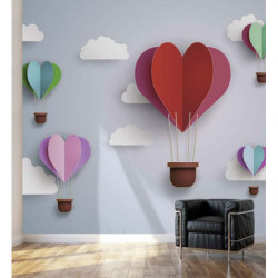 Romantic 3D effect poster hot air balloons in the sky