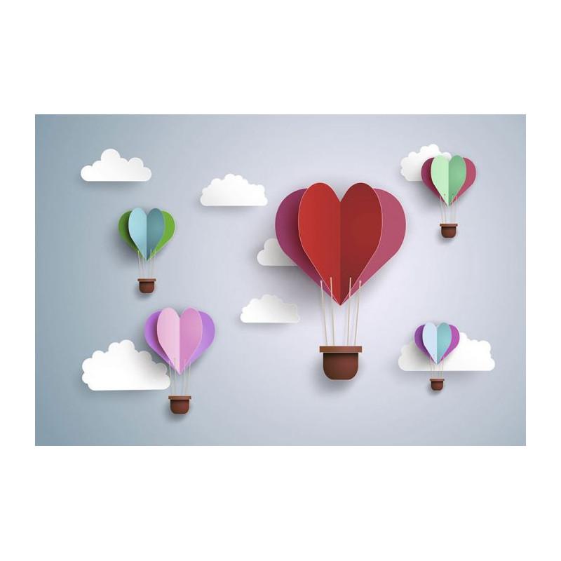 Papier peint chambre fille  tapisserie 3D montgolfières