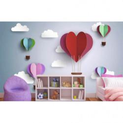 Papier peint pour enfant coeurs dans le ciel