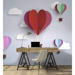 Wallpaper for children hearts in the sky