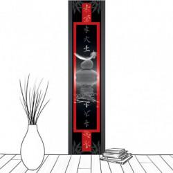 Tenture suspendue zen plume en équilibre sur des galets