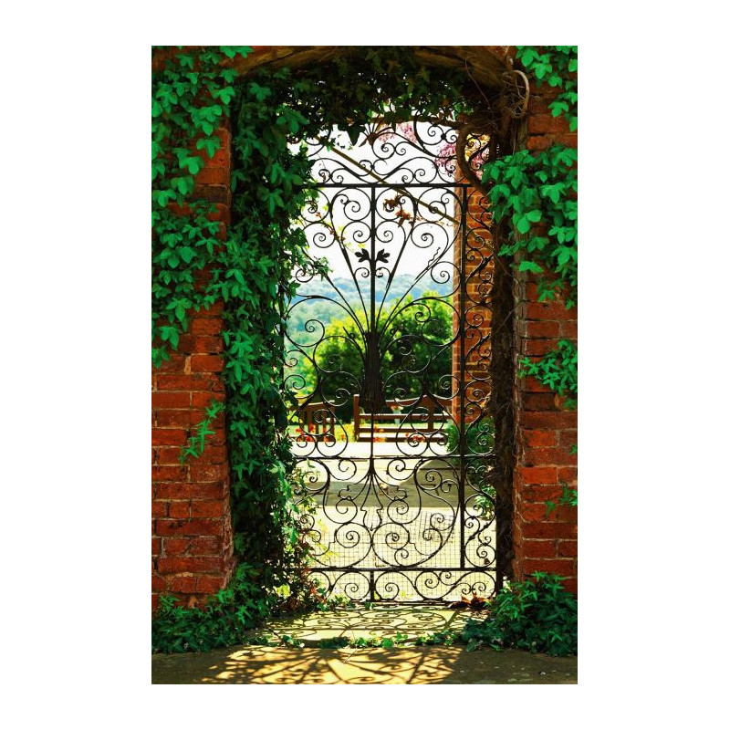 Poster trompe l il porte sur un jardin espagnol for Decoration porte trompe l oeil