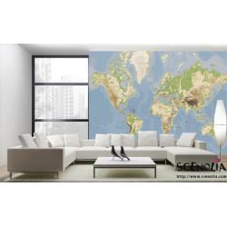 Poster mappemonde avec reliefs