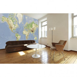 Poster world map with reliefs