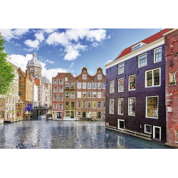 Poster Amsterdam photo coloured houses
