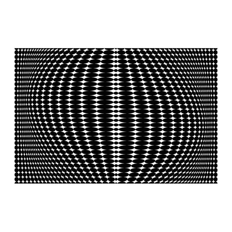 Papier peint panoramique hypnotique noir et blanc vision graphique - Papier peint graphique ...
