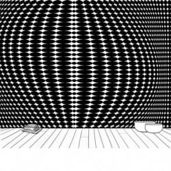 Papel pintado con diseño de ilusión óptica en blanco y negro