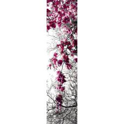 Tenture murale extérieure arbre fleuri rose et noir