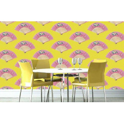 Papier peint chinois éventails rose et jaune