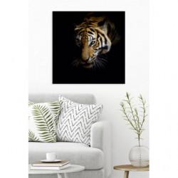 Tableau tigre design sur fond noir