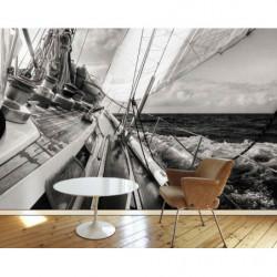 Poster panoramique voilier noir et blanc