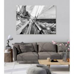 Tableau design photo d'un voilier en mer noir et blanc