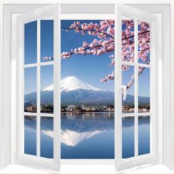 Tableau trompe l'oeil fenêtre vue sur le Mont Fuji