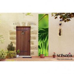 Tenture murale extérieure feuilles géantes et vertes