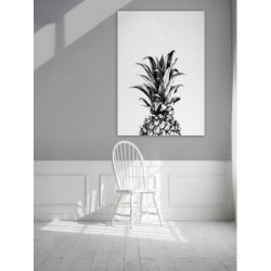 Pineapple design canvas print in black and white