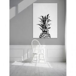 Tableau design dessin d'un ananas en noir et blanc