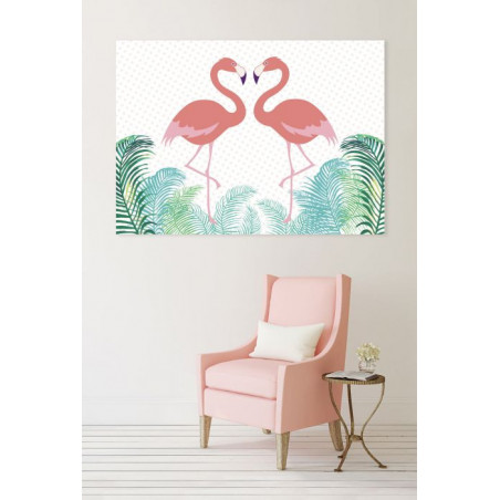 FLAMINGO IN LOVE canvas print