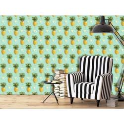 Papier peint motif ananas tropical vert et jaune