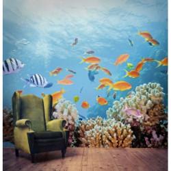 Papier peint poissons au fond de l'océan