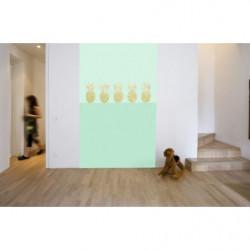 Papier peint design ananas en or sur fond vert
