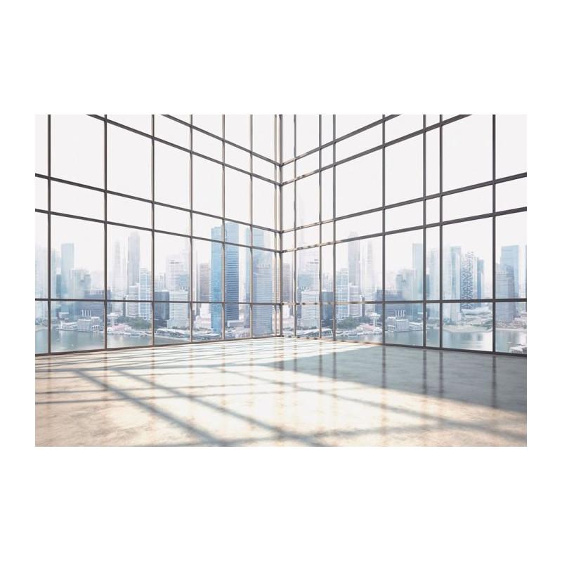 Papier peint panoramique trompe l 39 oeil vitre avec perspective - Papier peint trompe loeil ...