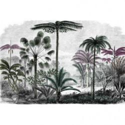 Papier peint jungle colorisée style gravure grand format