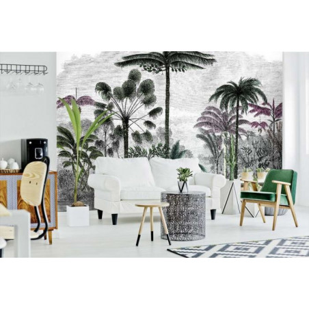 COLOURED PALM TREE ENGRAVING  Wallpaper