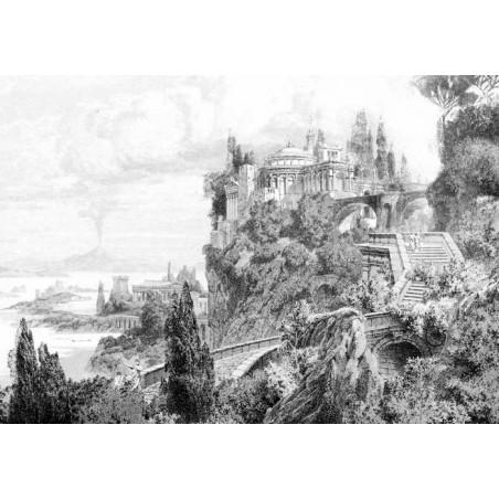ROMAN TEMPLE ENGRAVING canvas print