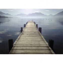 Tableau paysage lac dans la brume à Annecy