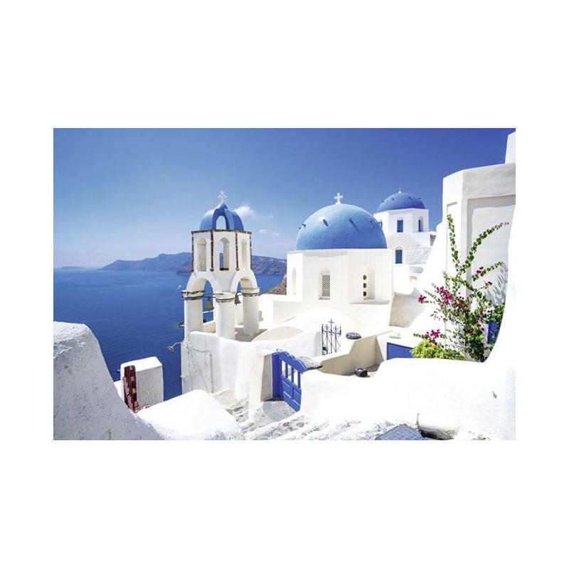 Poster paysage Grèce : ile grecque bordée par la mer