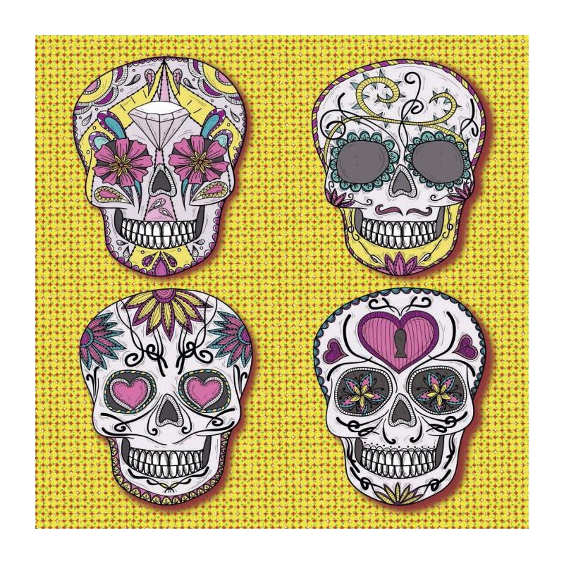 Rideau Chambre Ado Fille : Tableau tête de mort design et fleuri )